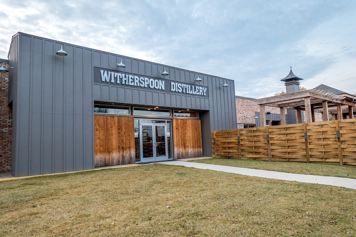 Outdoor space at Witherspoon Distillery, one of the Texas distilleries
