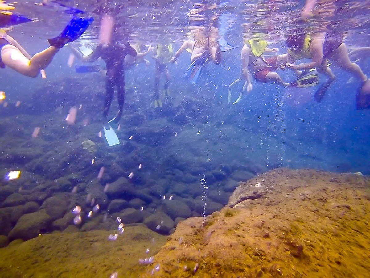 There can be large numbers of snorkelers visiting the Champagne Reef at one time in Dominica.