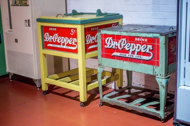 Vintage Dr Pepper coolers in the museum in Waco