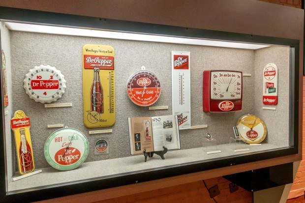 Dr Pepper clocks and thermometers on display at the Dr Pepper Museum Waco, Texas