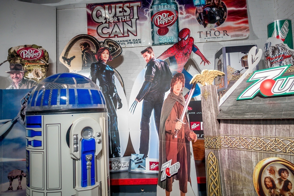 Movie-related displays that include Dr Pepper