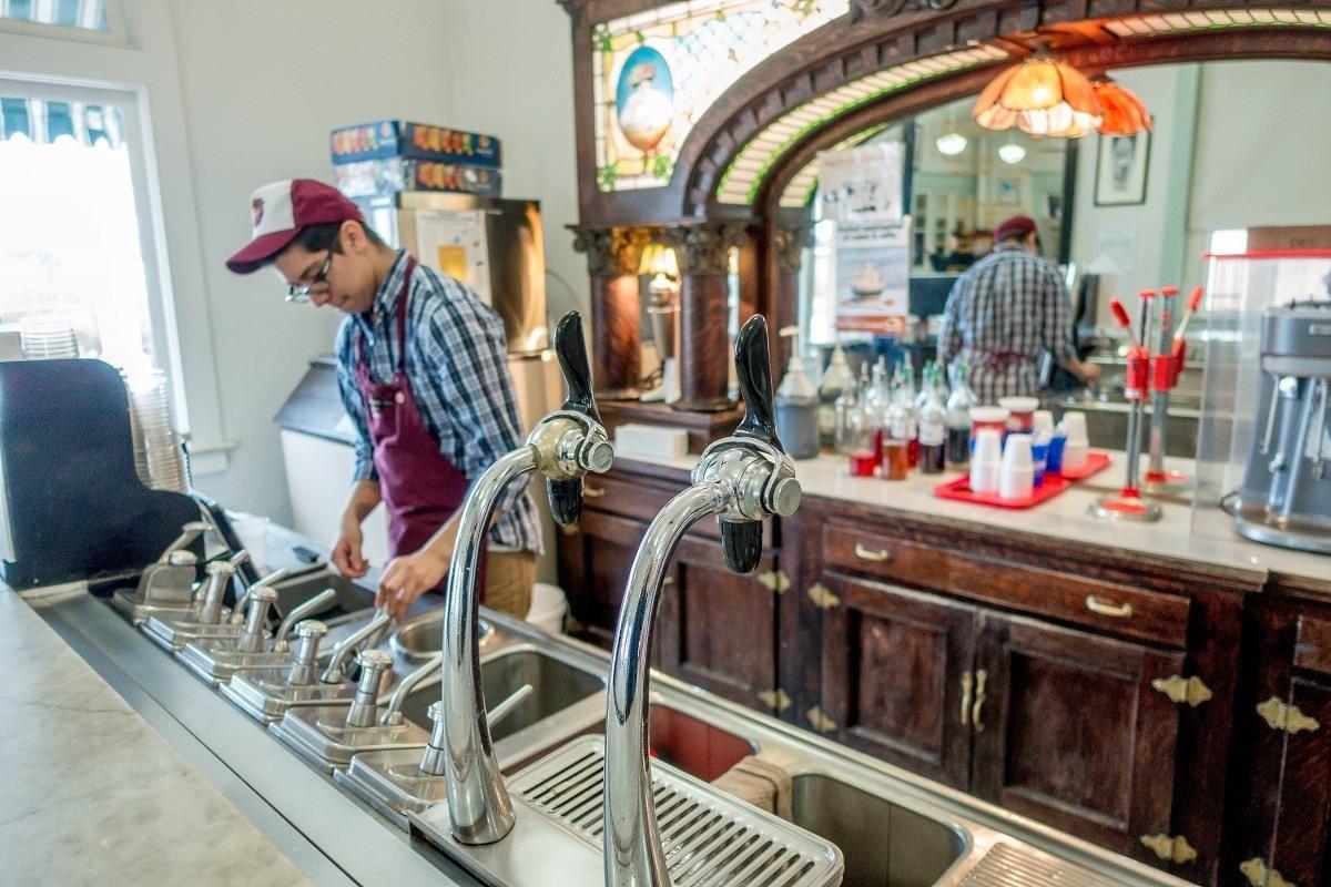 Soda fountain at the Dr Pepper Museum Waco, Texas