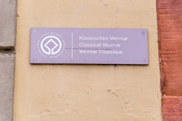 Sign for the Classical Weimar UNESCO World Heritage Site.
