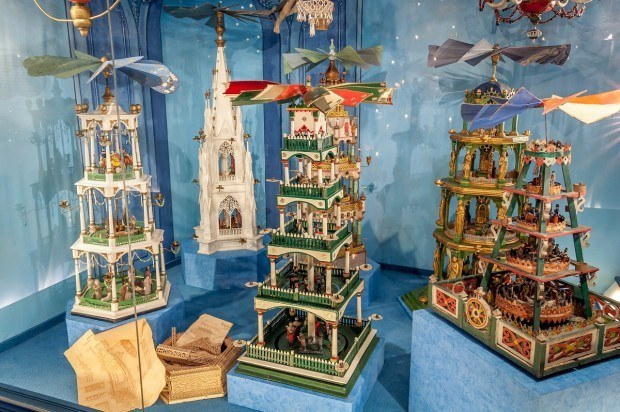 Display of Christmas pyramids at the German Christmas Museum in Rothenburg.