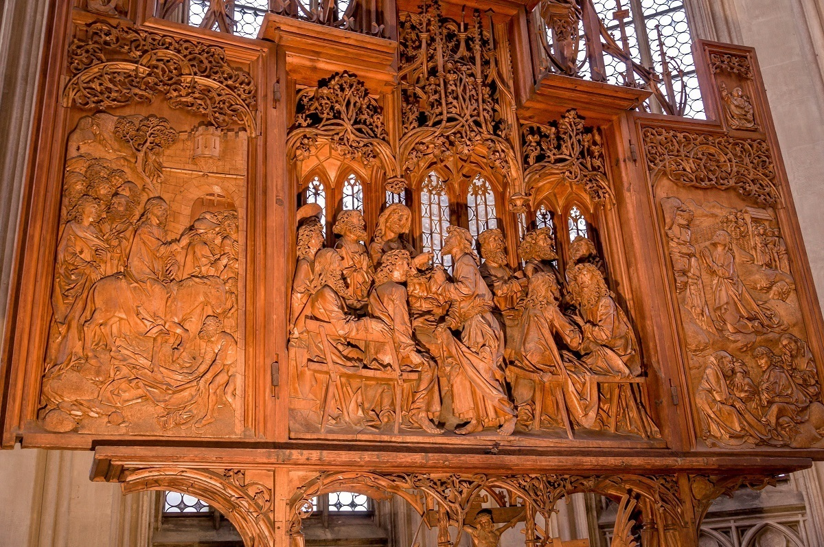 The Tilman Riemenschneider altar at St. Jacob's Church in Rothenburg ob der Tauber.  The altar is believed to contain a relic which has several drops of blood from Jesus Christ.