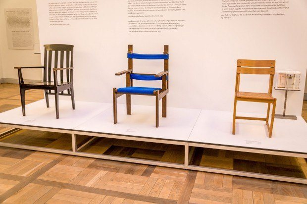 Elements of Bauhaus design, such as these chairs, are displayed at the Weimar Bauhaus Museum.