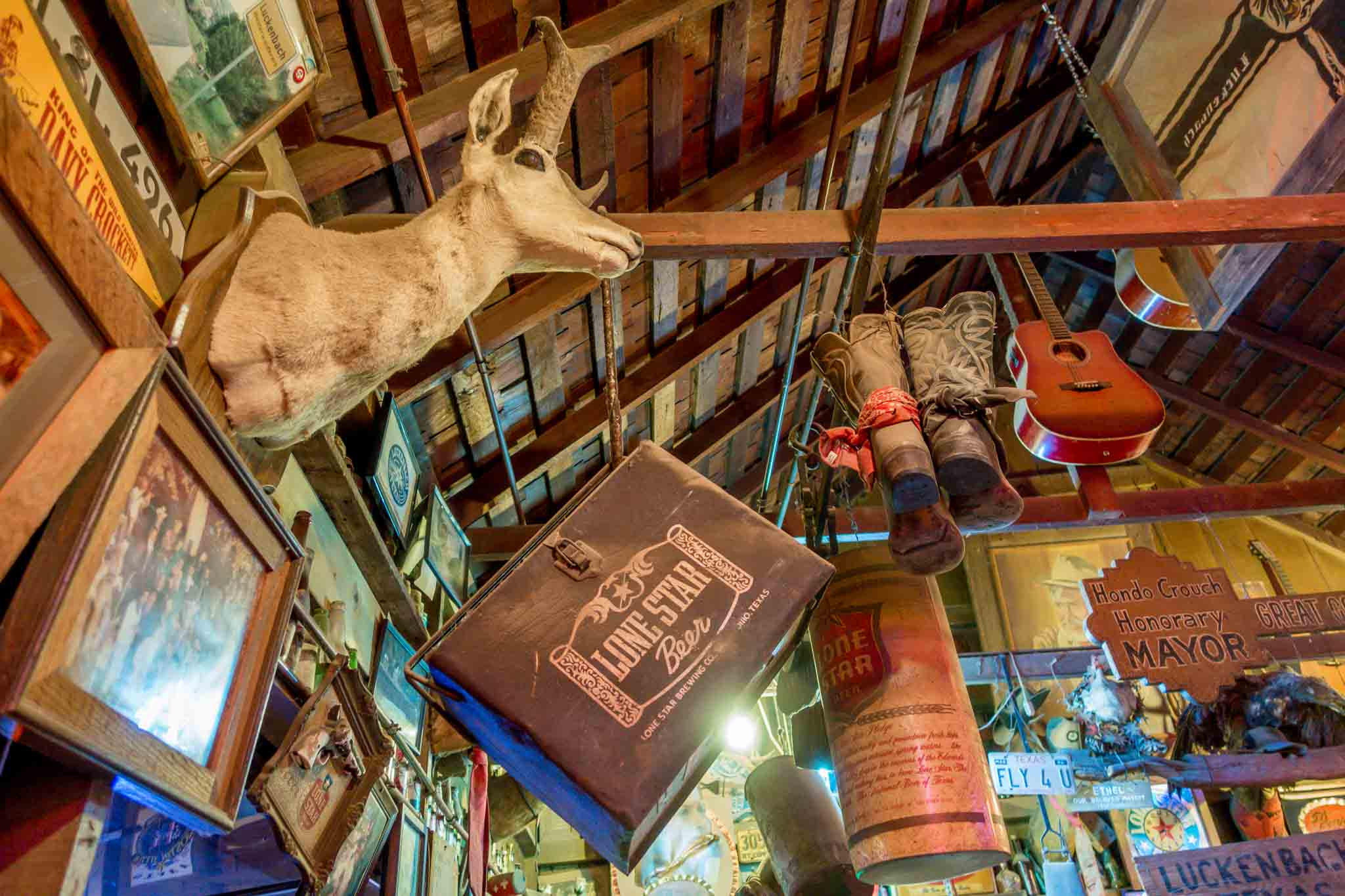 Music memorabilia hanging from ceiling at Luckenbach, Texas