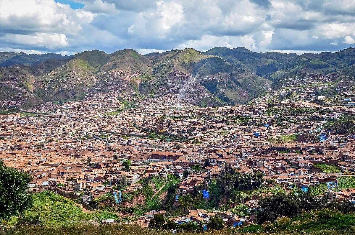 Rooftops and hills of Cusco, Peru, from above