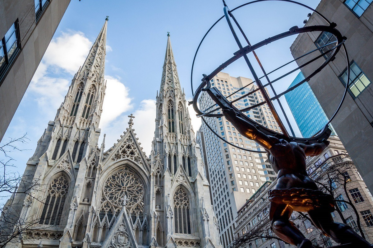 Statue of Atlas looking out on St. Patrick's Cathedral in New York City