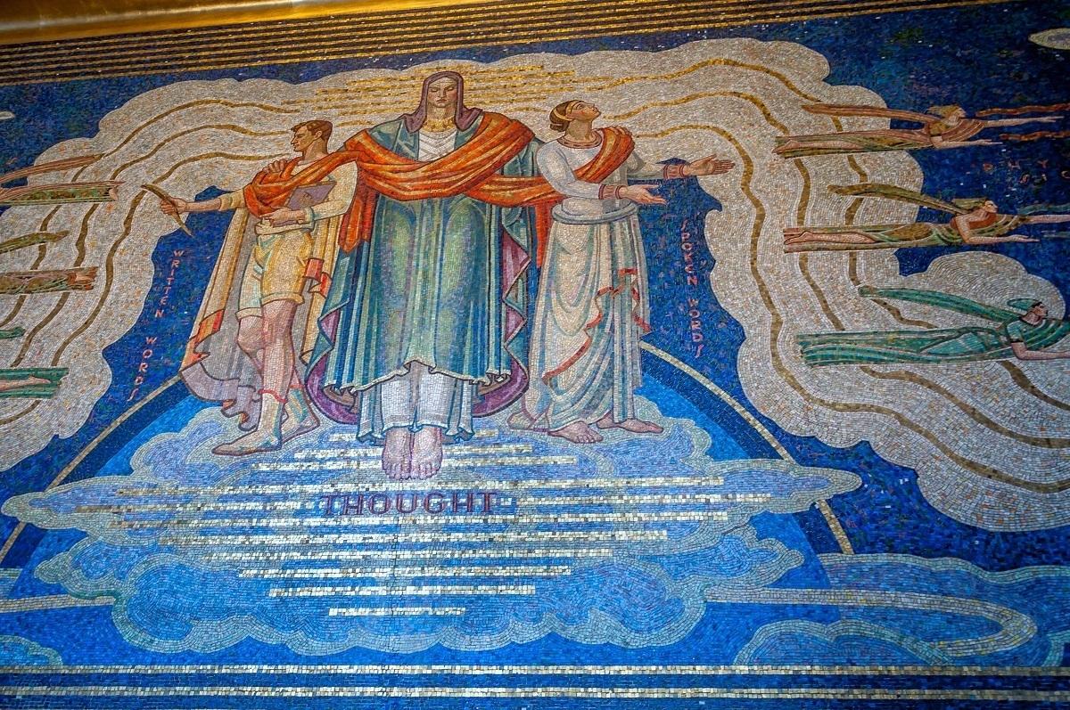 Intelligence Awakening Mankind, a glass tile mosaic