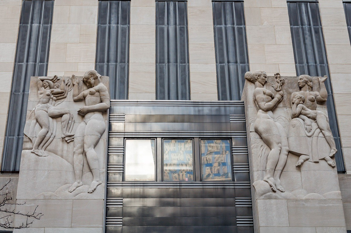 Television and radio reliefs above the entrance to 30 Rockefeller Plaza