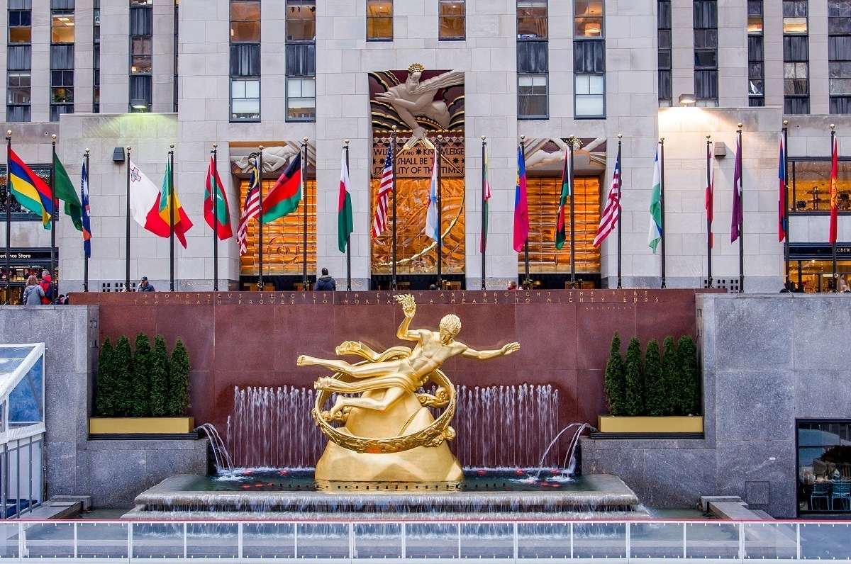 Prometheus overlooking the Plaza on a Rockefeller Center tour