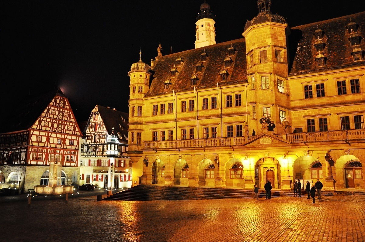 The main market square in Rothenburg ob der Tauber, Germany.