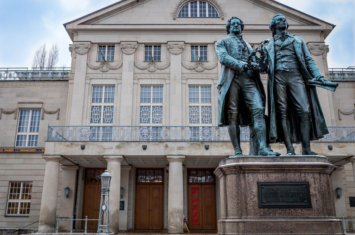 The Goethe-Schiller statue of Classical Weimar in front of Germany's National Theater