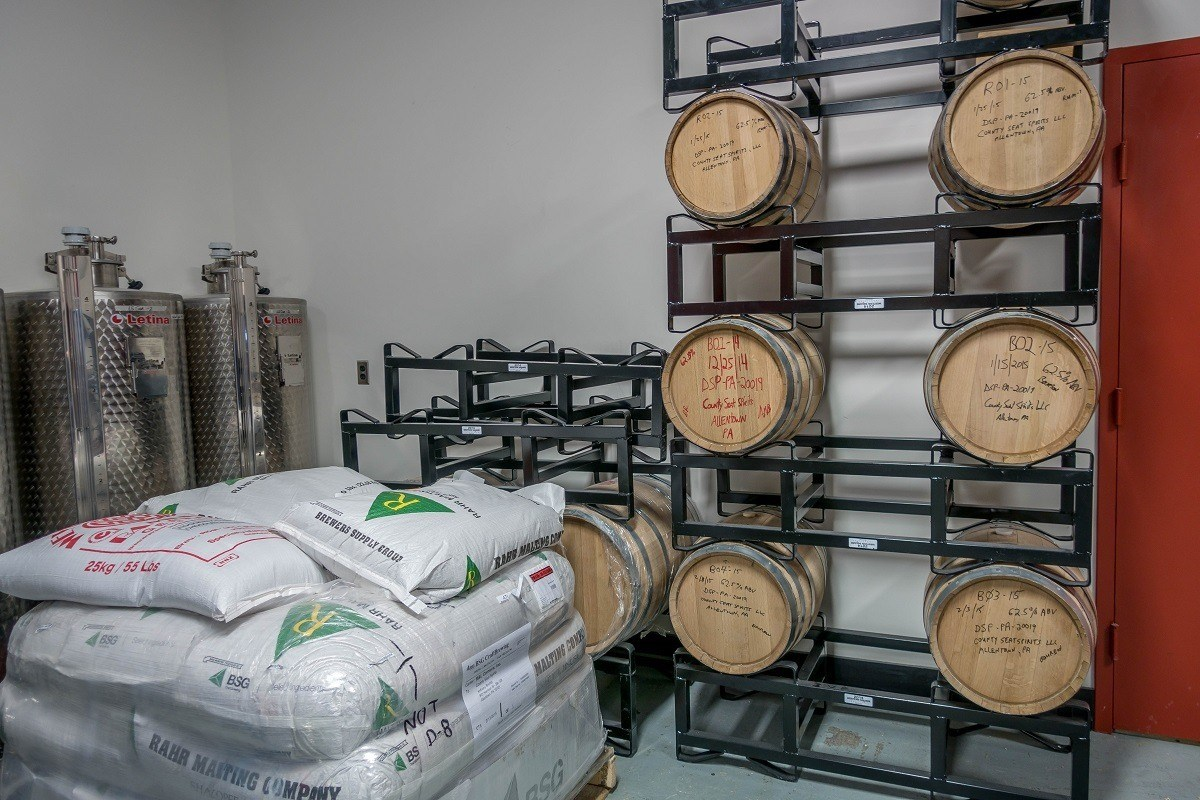 Aging barrels at County Seat Spirits in Allentown, PA.
