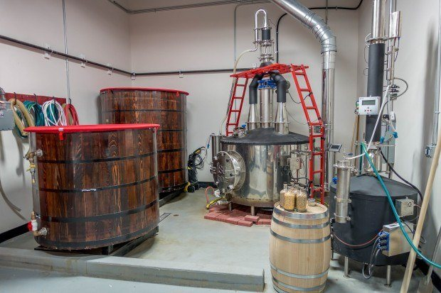 The tanks at County Seat Spirits in Allentown, PA, which focuses on entirely handcrafted spirits.