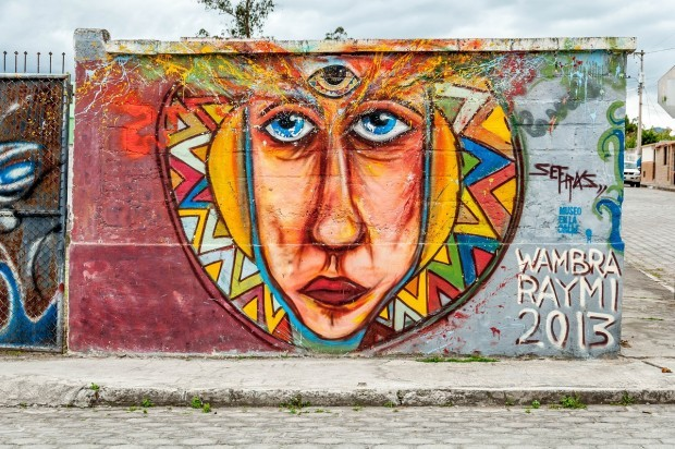 The Third Eye street art mural in Cotacachi.  A number of Ecuador's graffiti artists and muralists reside near Cotacachi.