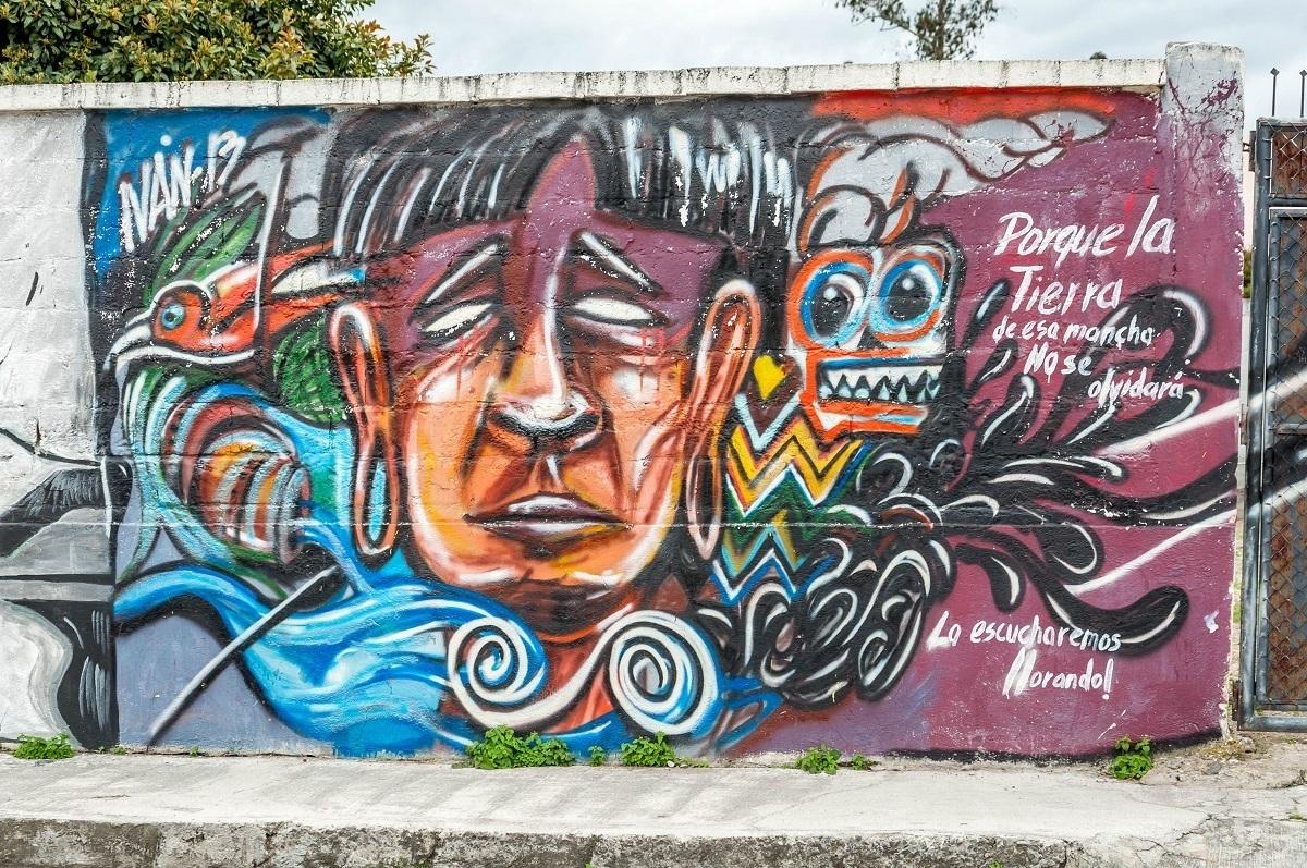 An indigenous mural in Cotacachi