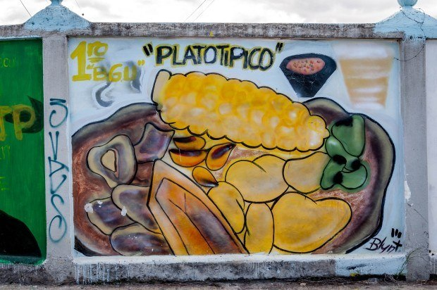 Traditional foods featured in this street art mural in Machachi, Ecuador.