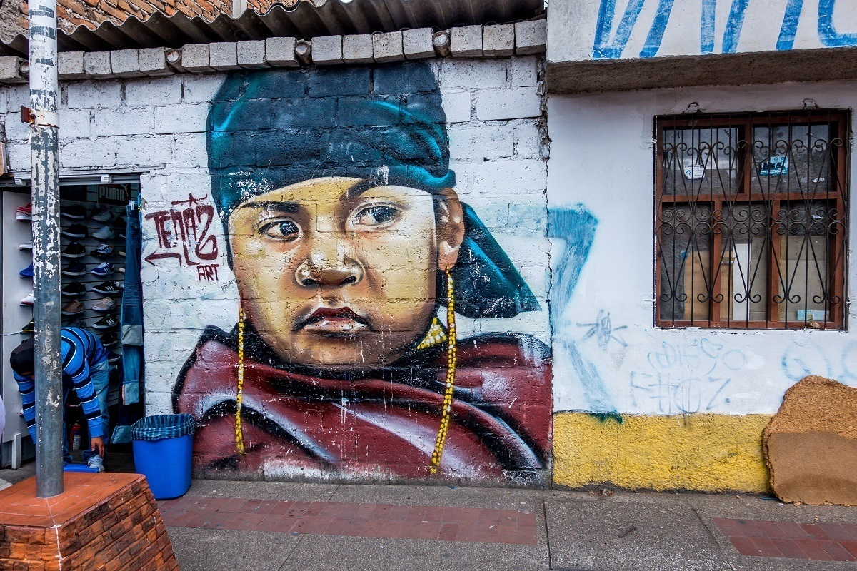 Street art in Ecuador mural of boy