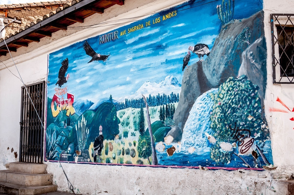 A mural to the condors in the Avenue of the Volcanoes