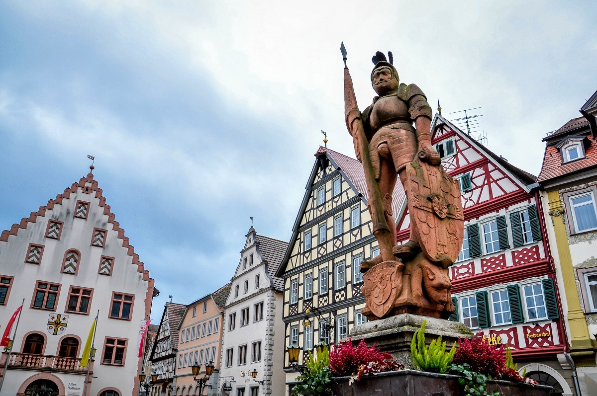 Statue in the market square in Bad Mergentheim on Germany's Romantic Road
