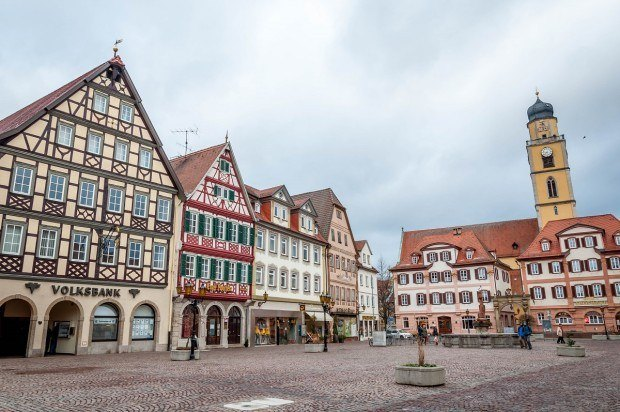 The Market Square in Bad Mergentheim, Germany.  This city was the surprise discovery on the romantic highway Germany and is one of the best small towns in Germany.