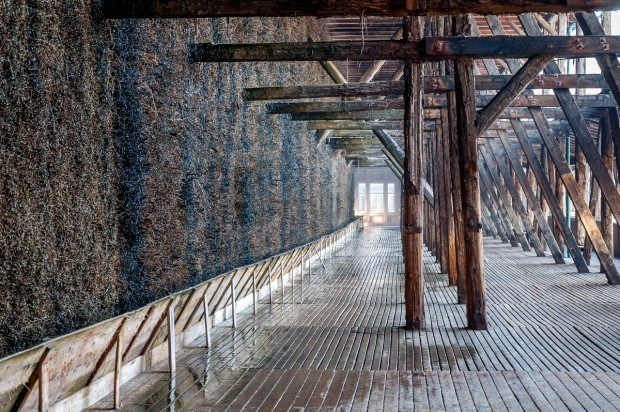 Walking along the evaporation walls at the Keltenbad (Celtic Bath) in Bad Salzungen, Germany.