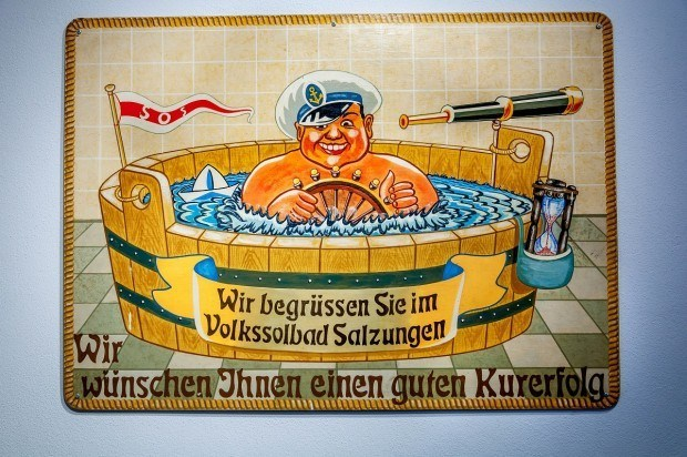 "Vintage advertisement for the ""people's spa"" in Bad Salzungen, Germany."