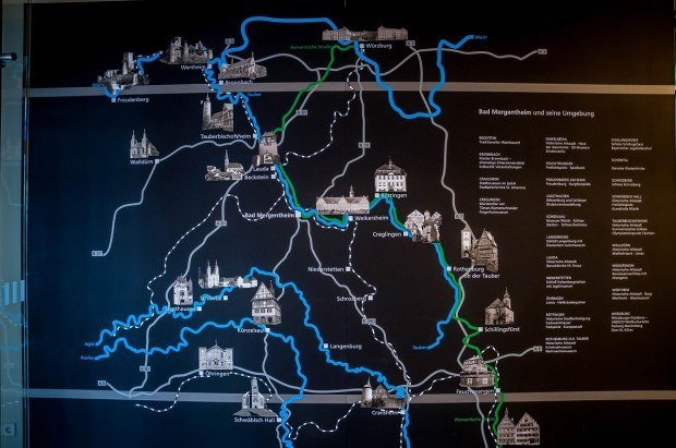 Romantic Road Map:  This map of the Romantic Road in Germany hangs in the Bad Mergentheim Tourist Information Office. While phones and GPS devices are extremely helpful, having a good Romantic Road Germany map can be helpful for navigating the small villages in Germany.