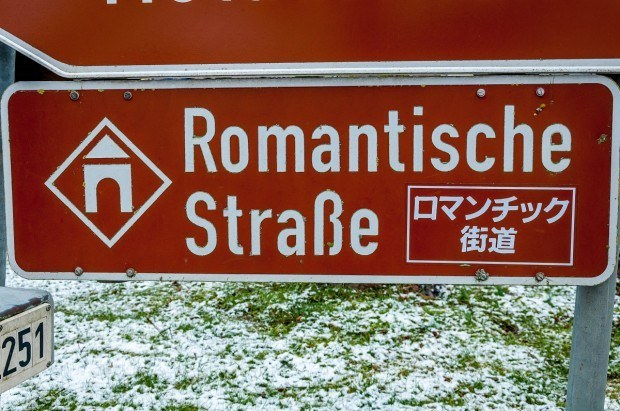 Many of the signs for the Romantic Road are in German and Japanese.
