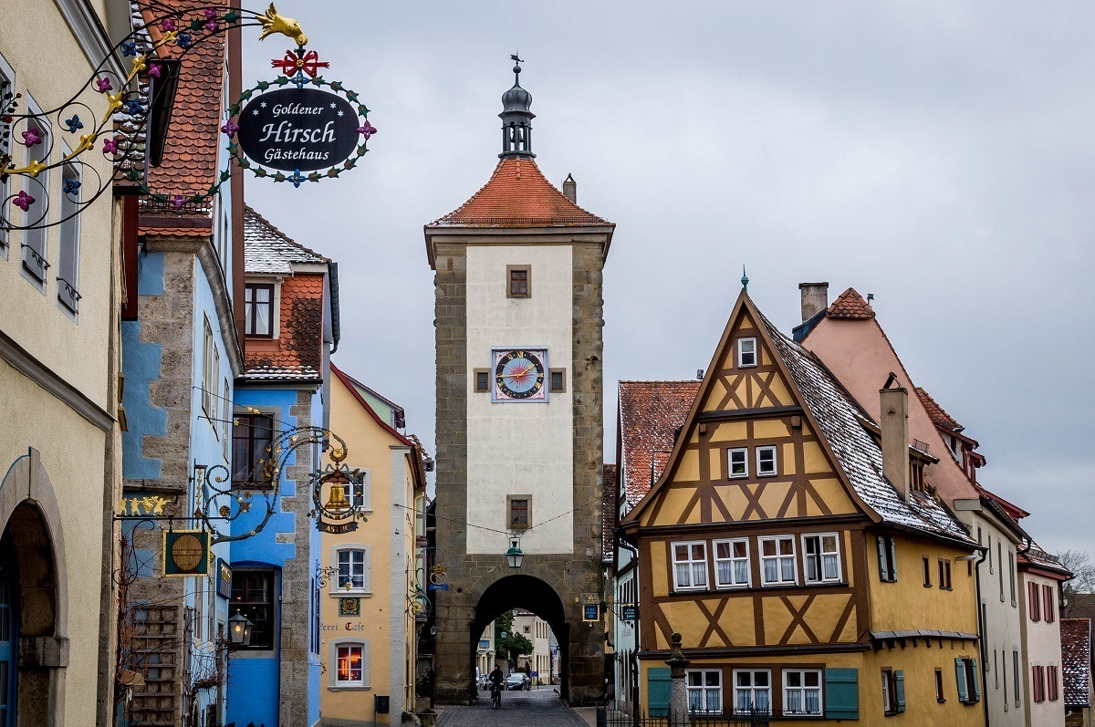 Tower and city gate to Rothenburg od Tauber on the Romantic Road Germany