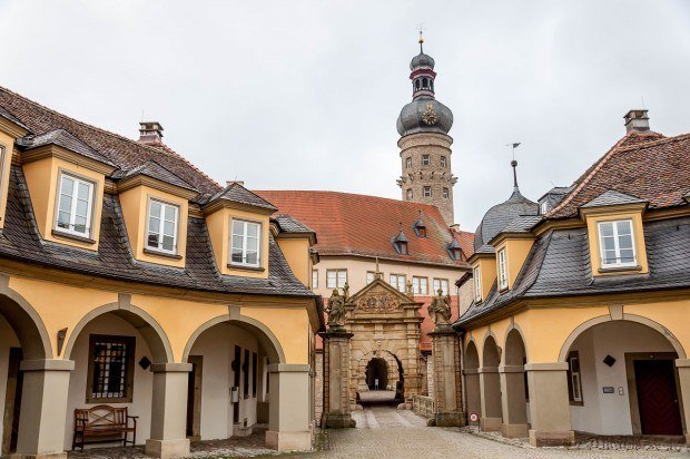 The grand entrance to the Weikersheim Castle on the Romantic Road in Germany.