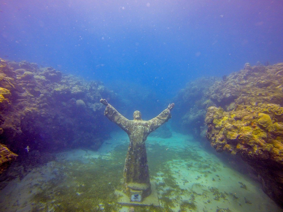 "Jason deCaires Taylor's ""Christ of the Deep"" at the Grenada Underwater Sculpture Park in Molinere Bay."