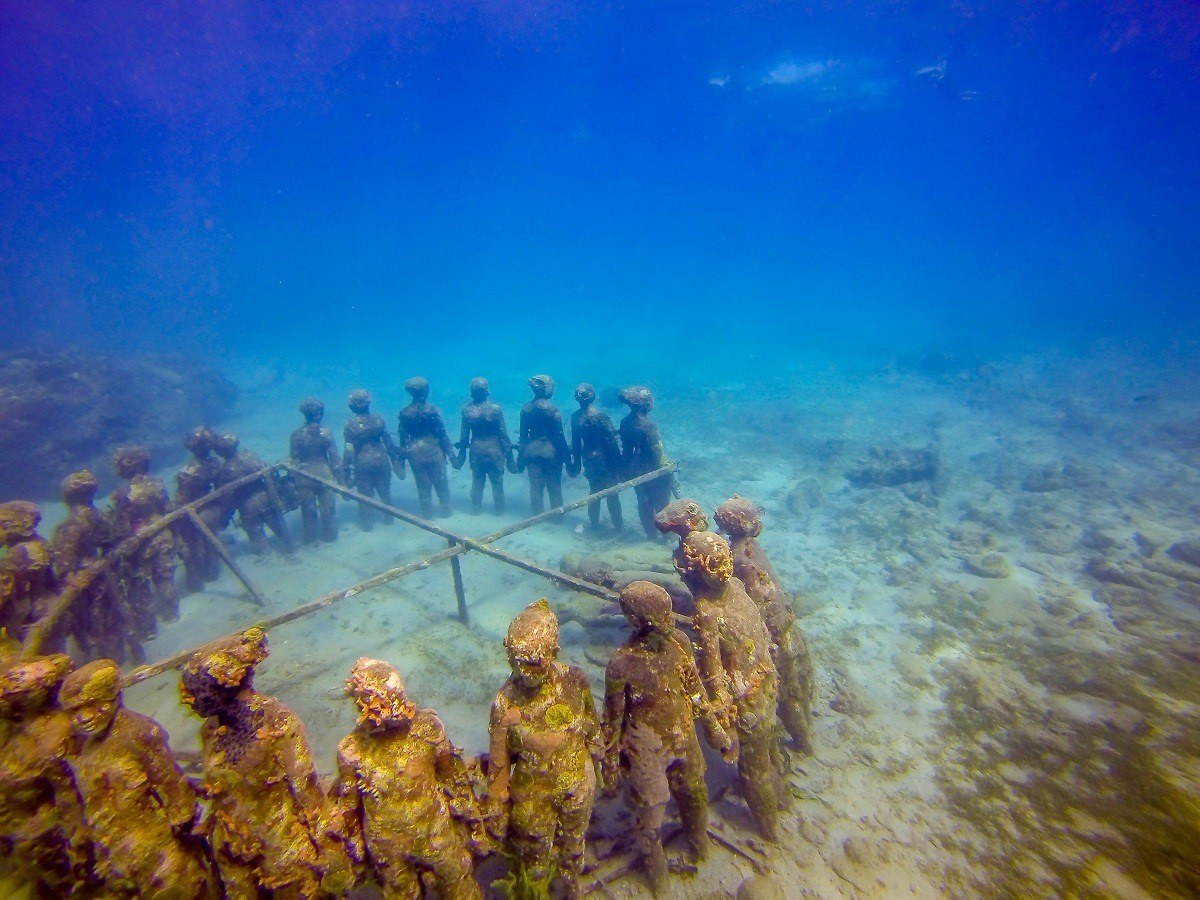 "A view of Jason deCaires Taylor's ""The Vicissitudes "" from above.  This is one of the Grenada underwater sculptures."