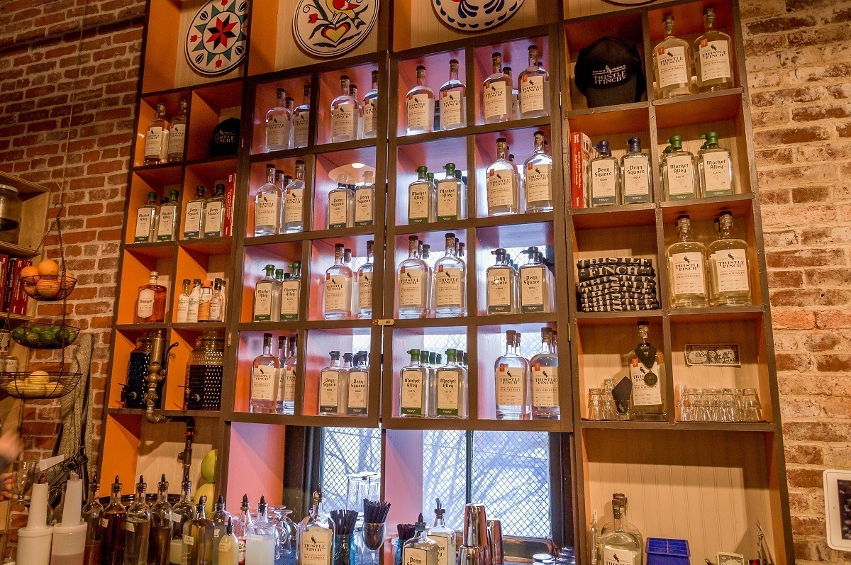 The bar at Lancaster's Thistle Finch Distillery, one of the new craft distilleries in Pennsylvania.