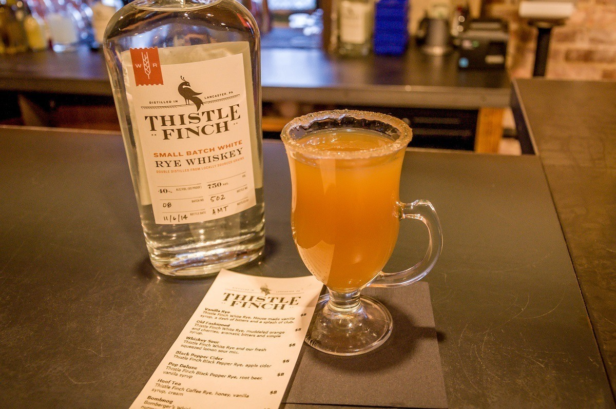 Sampling cocktails at Thistle Finch in Lancaster, Pennsylvania.