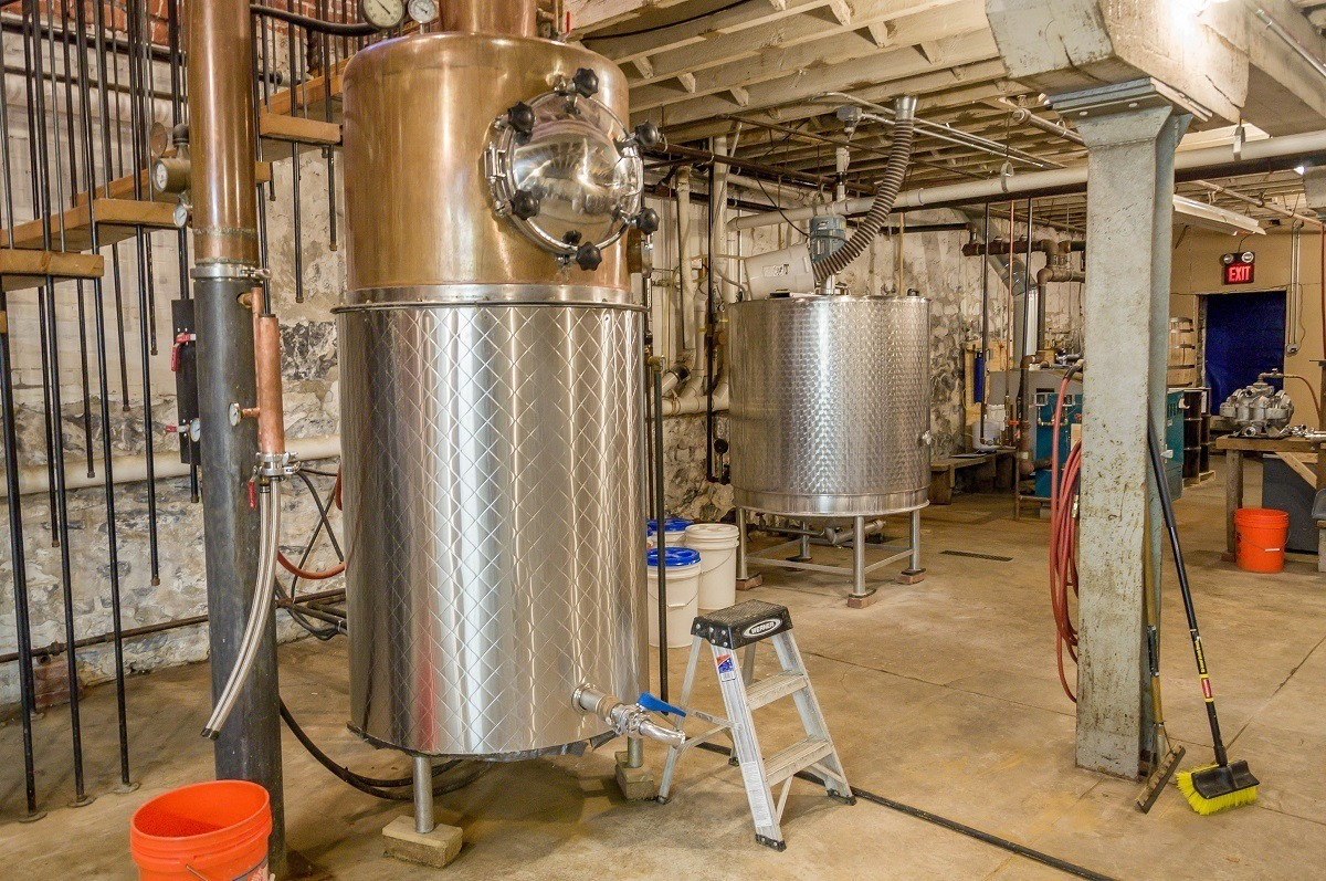 The famous hand-built still at Thistle Finch Distillery in Lancaster.