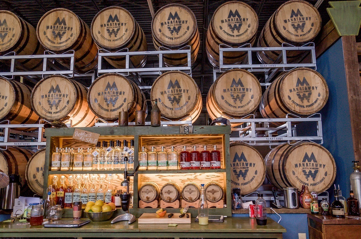 One of the most famous Pennsylvania distilleries is the Manatawny Still Works, which features a large bar to sample their products.