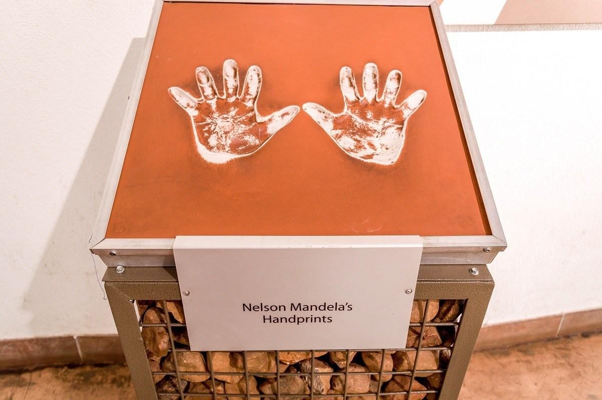Nelson Mandela's Handprint at the Maropeng Cradle of Humankind Visitors Center.