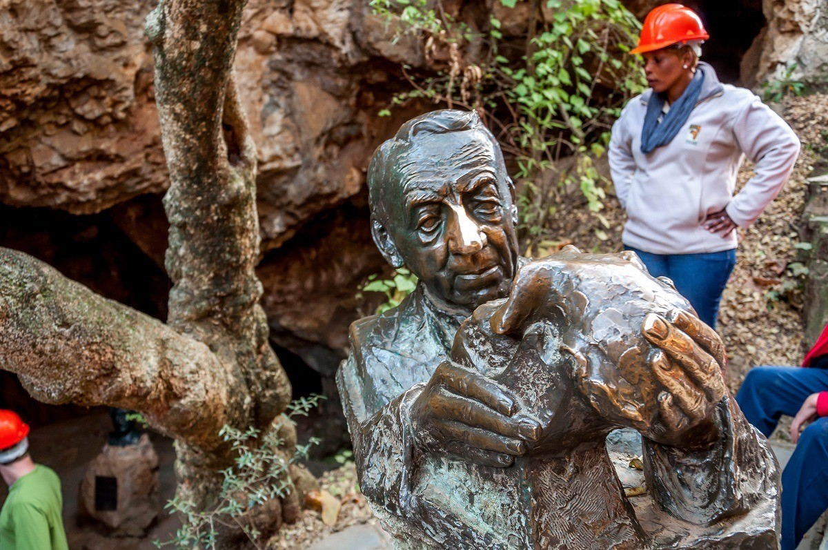 Robert Broom sculpture at the Sterkfontein Caves in the Cradle  of Humankind.