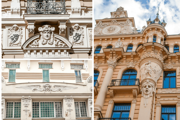 Details of some of the Art Nouveau buildings in Riga