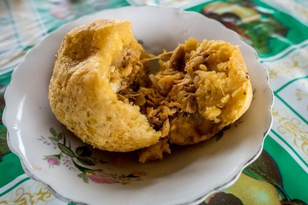 The Bolon de Verde with chicken was one of our Ecuadorian food dishes.