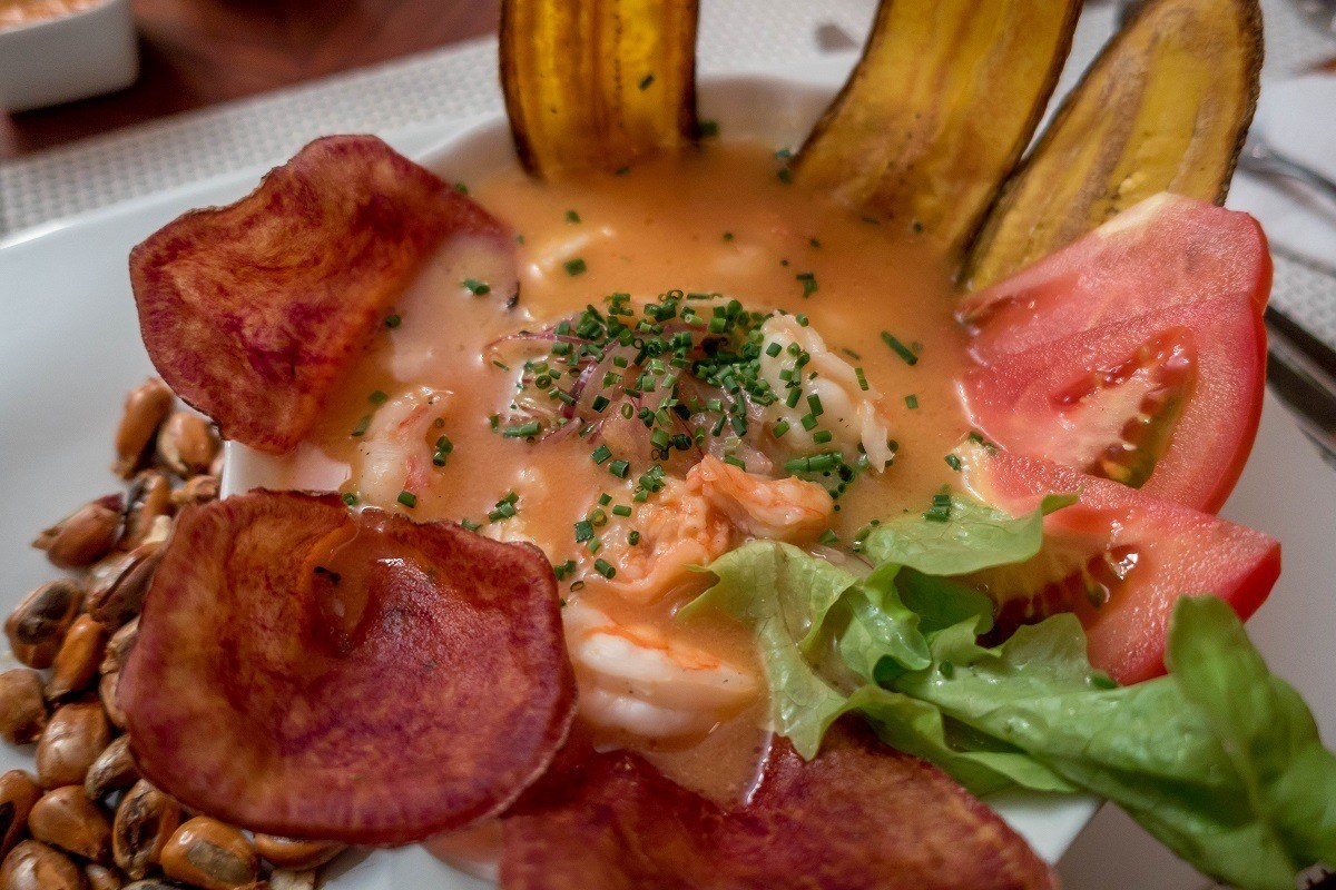 In Ecuadorian ceviche, a typical food in Ecuador, the fish and seafood sit in a soupy broth. Shrimp ceviche is the most common for ceviche in Ecuador.