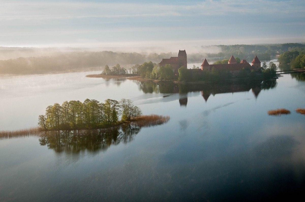 View of Trakai Island Castle from a hot air balloon
