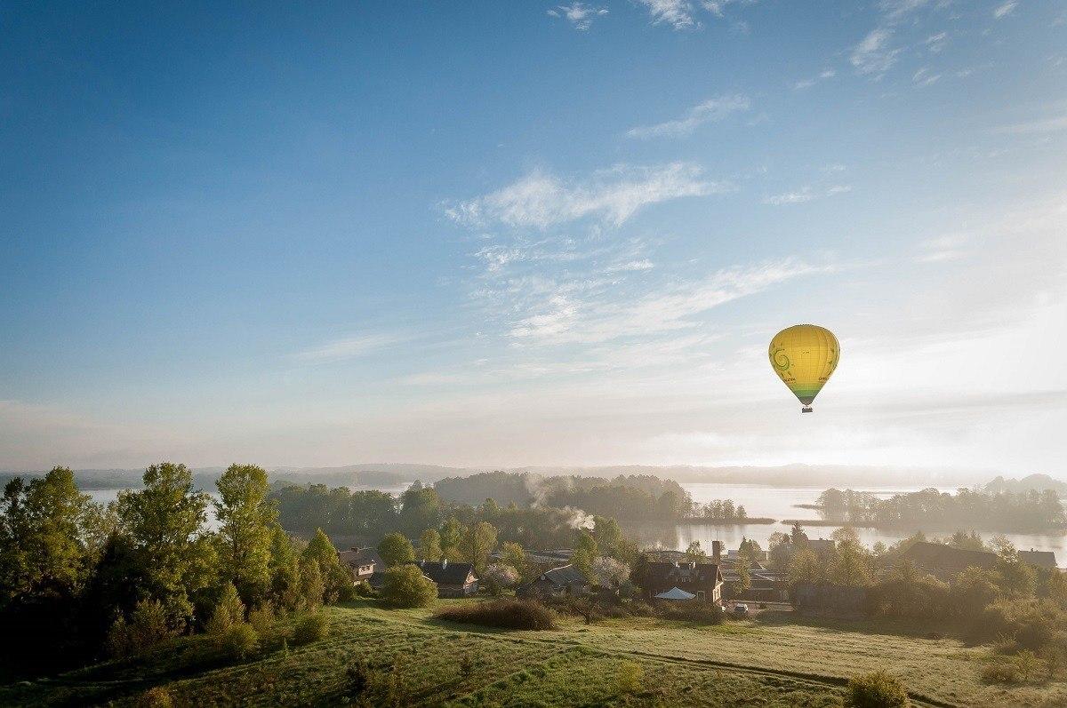 Hot air balloon flight over Lithuania's Trakai Island Castle