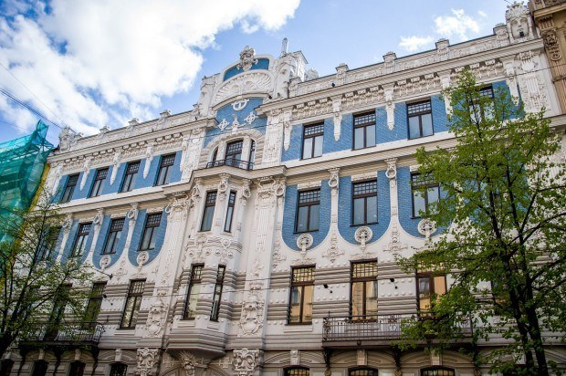 Art Nouveau building in Riga designed by Mikhail Eisenstein