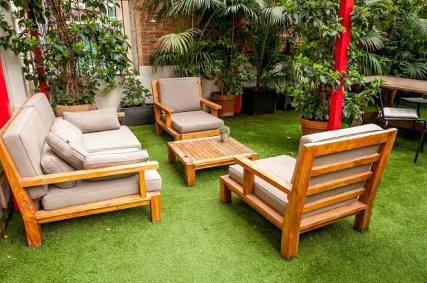 In the garden at Barcelona's Praktik Garden Hotel.
