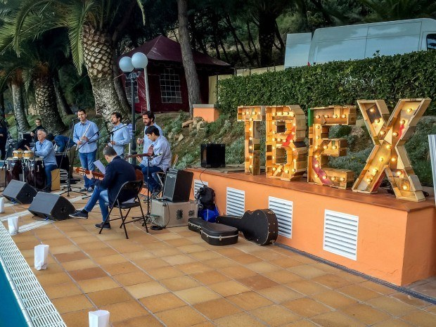 The band at the TBEX Europe party in Costa Brava, Spain.