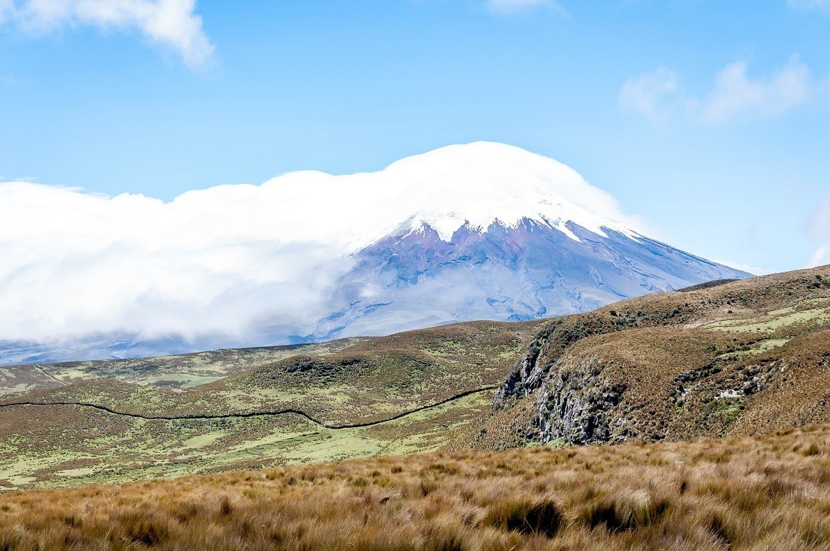 The deep valley on Rumiñahui with Cotopaxi in the distance